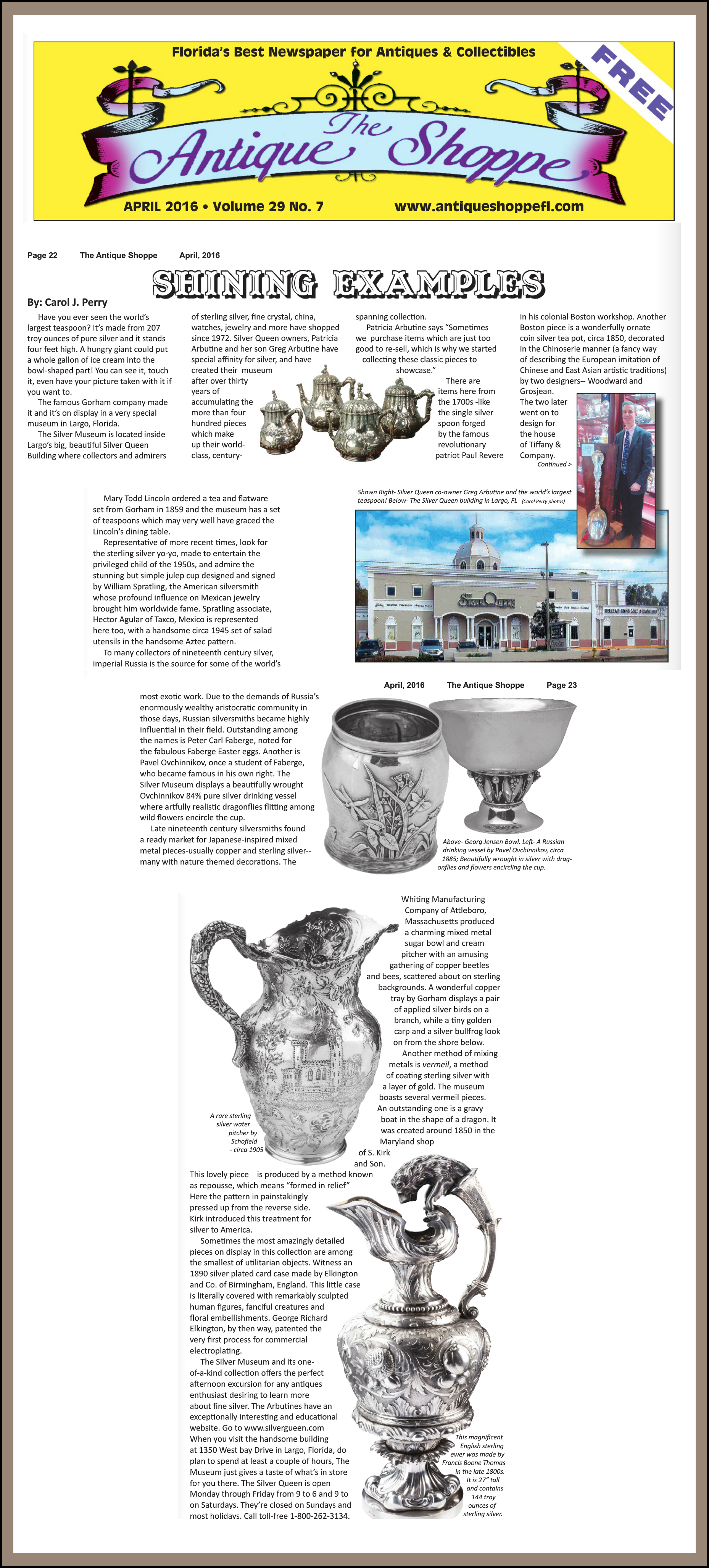 Antique Shoppe Article April 2016
