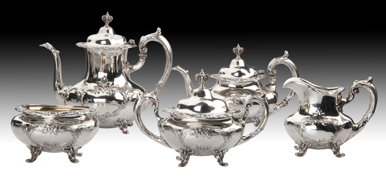 Burgundy Coffee Set Silver