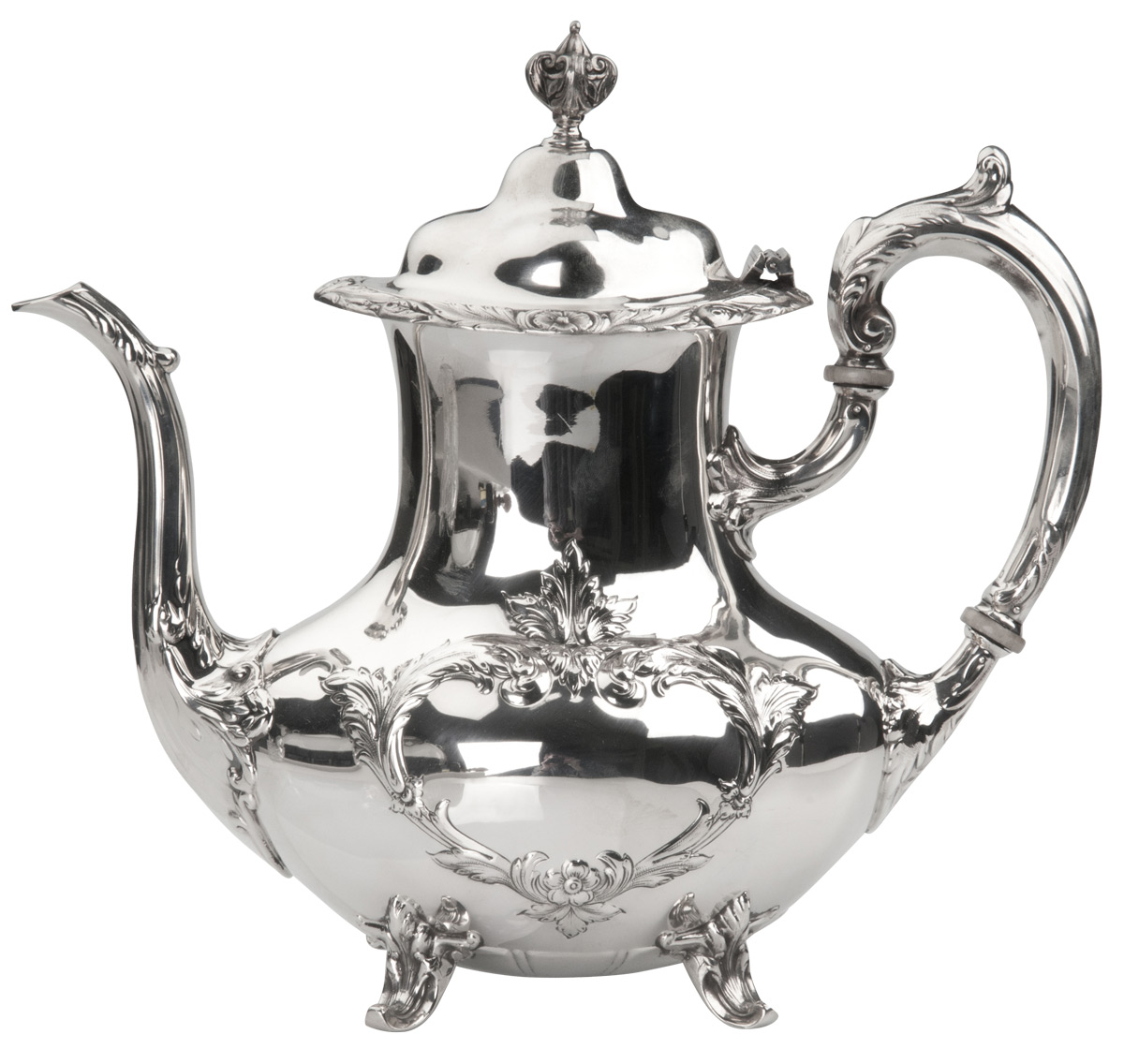 Burgundy Coffee Pot Silver