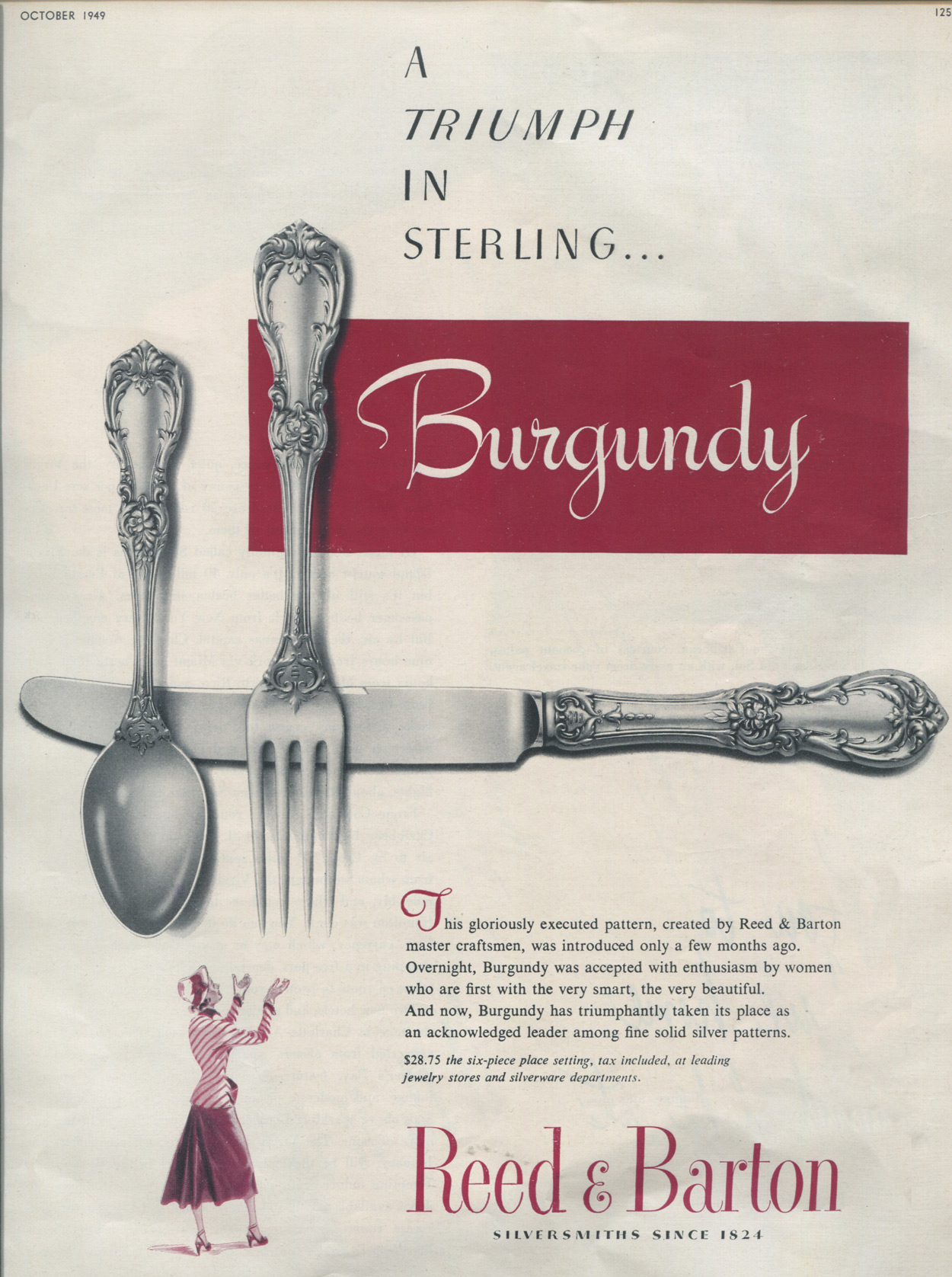 Burgundy 1949 Print Ad Sterling Silver