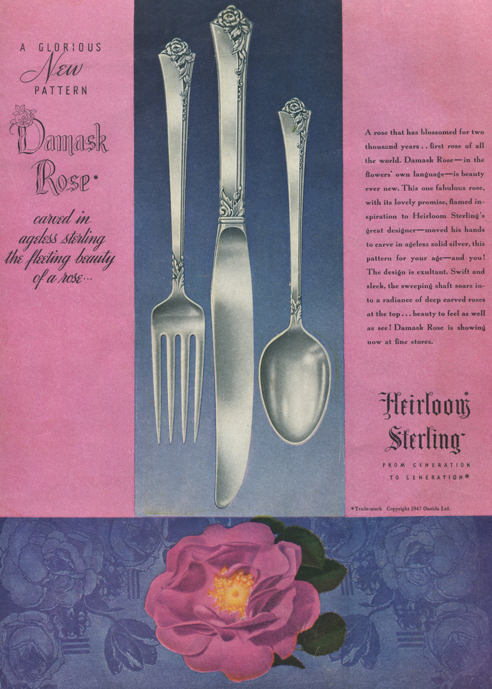 Damask Rose 1947 Print Ad Silverware