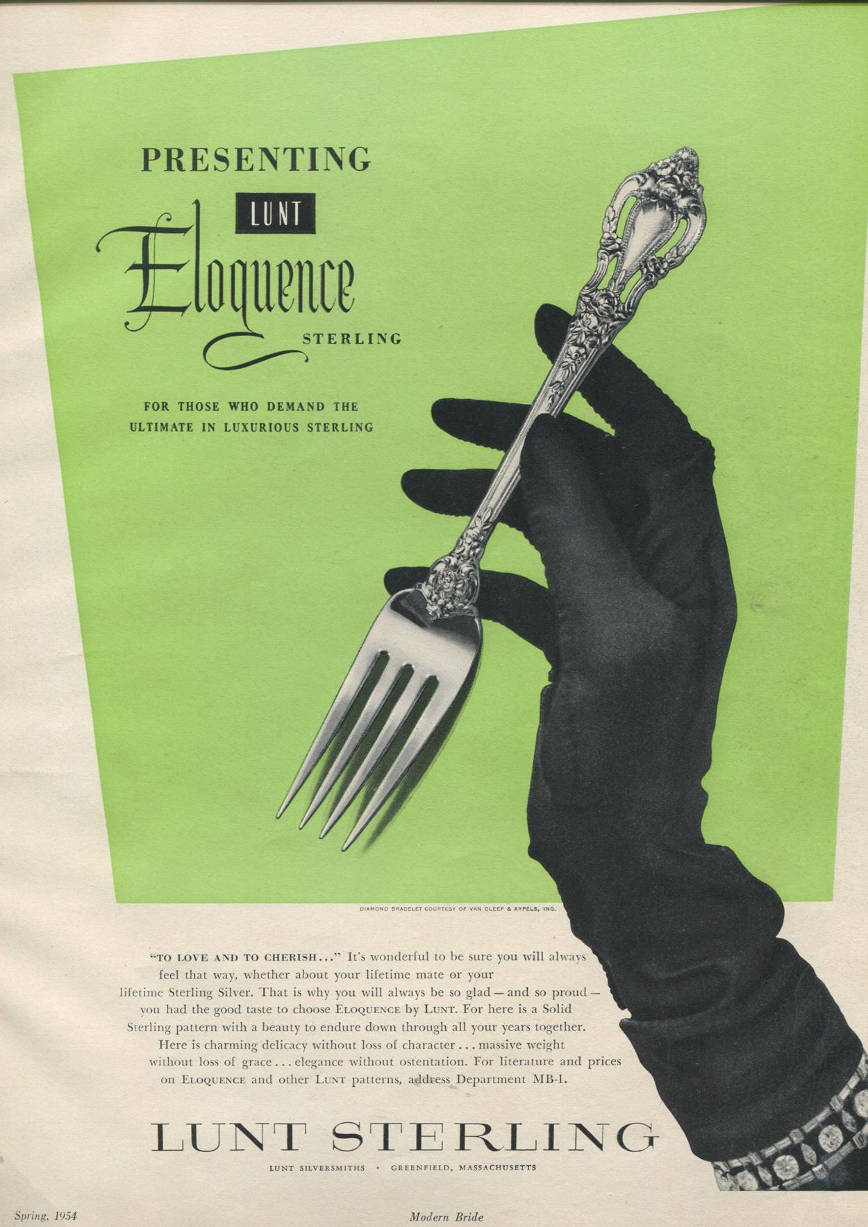 Eloquence 1954 Print Ad Silverware