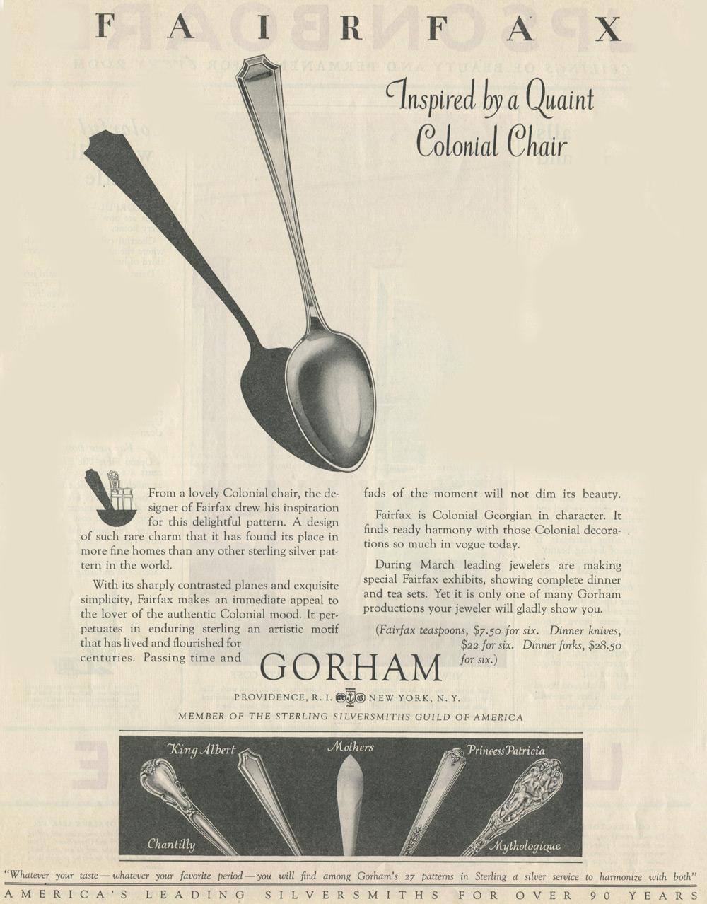 Fairfax Gorham 1928 Ad