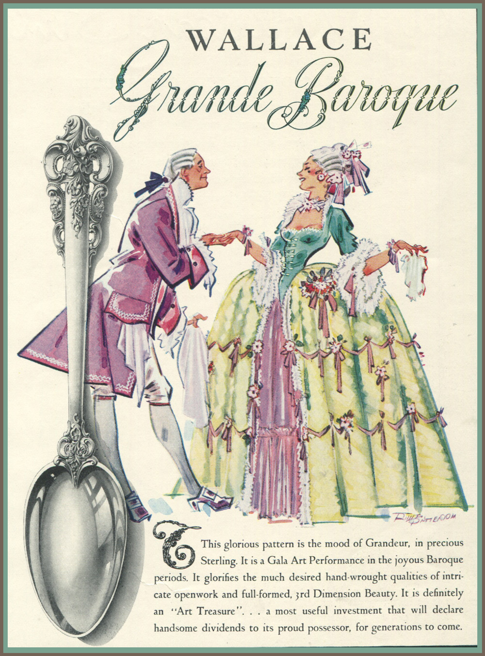 Grande Baroque Sterling Silver 1950s National Sales Ad