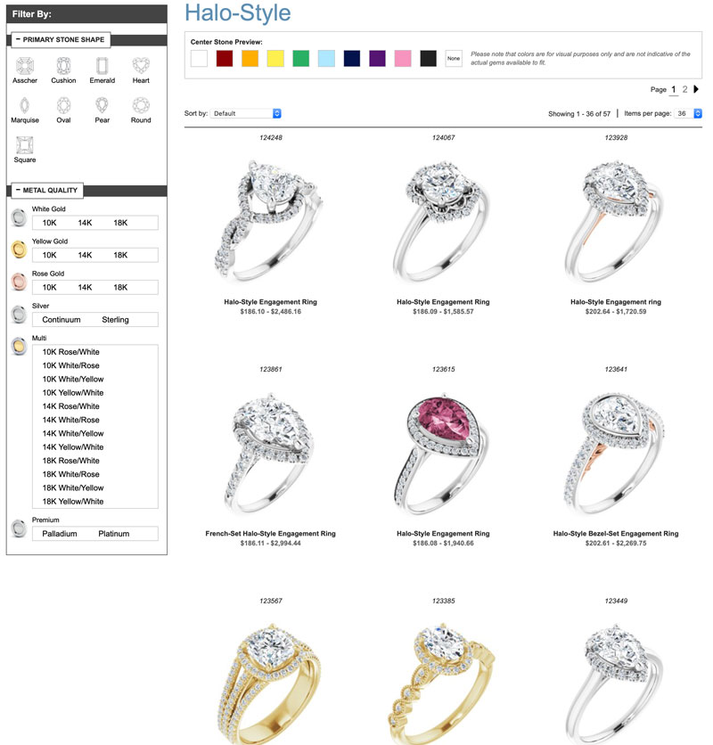 Halo style engagement rings