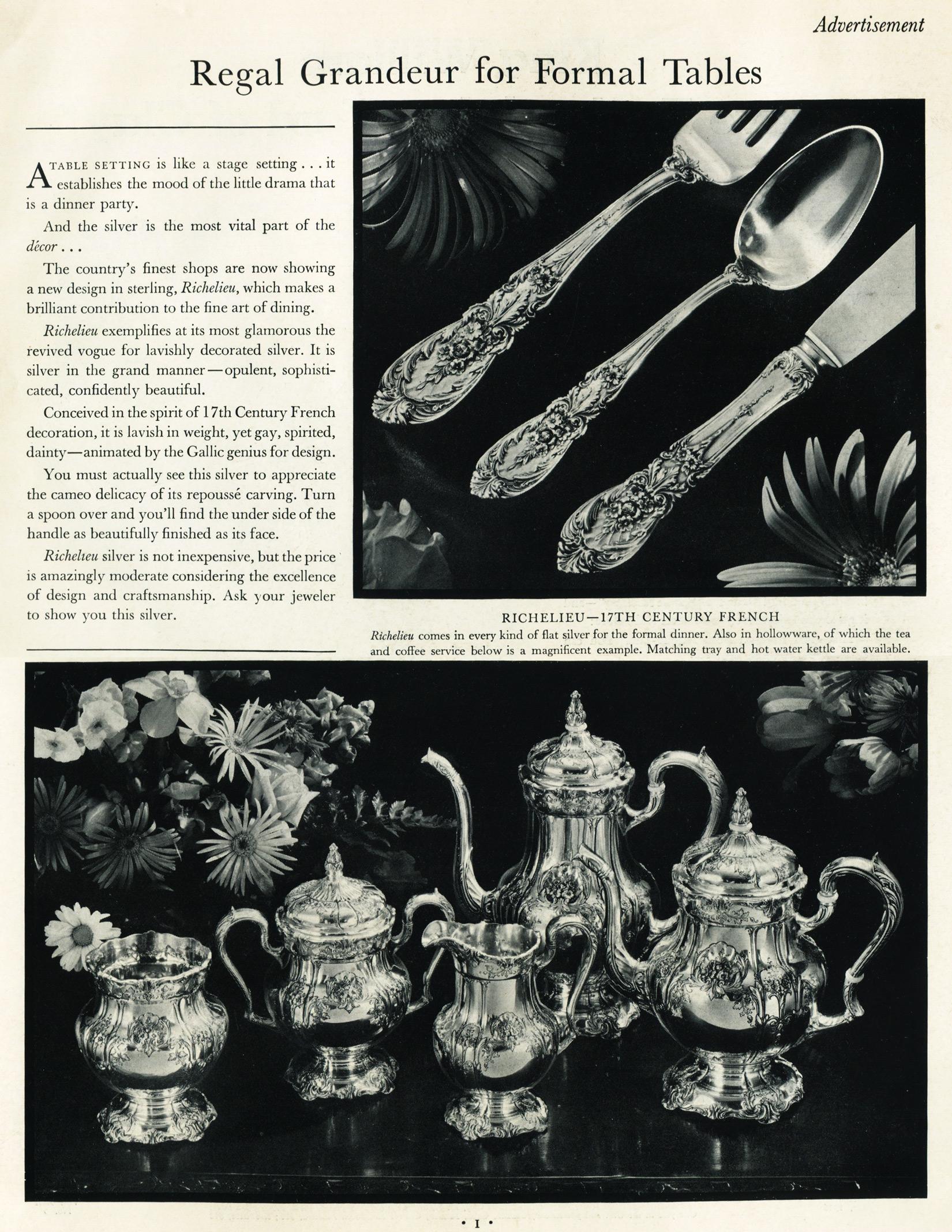 Richelieu 1950's Print Ad Silverware