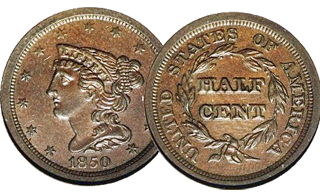 Braided Hair Half Cent – issued 1840 – 1857