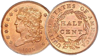 Classic Head Half Cent – issued 1809 – 1836