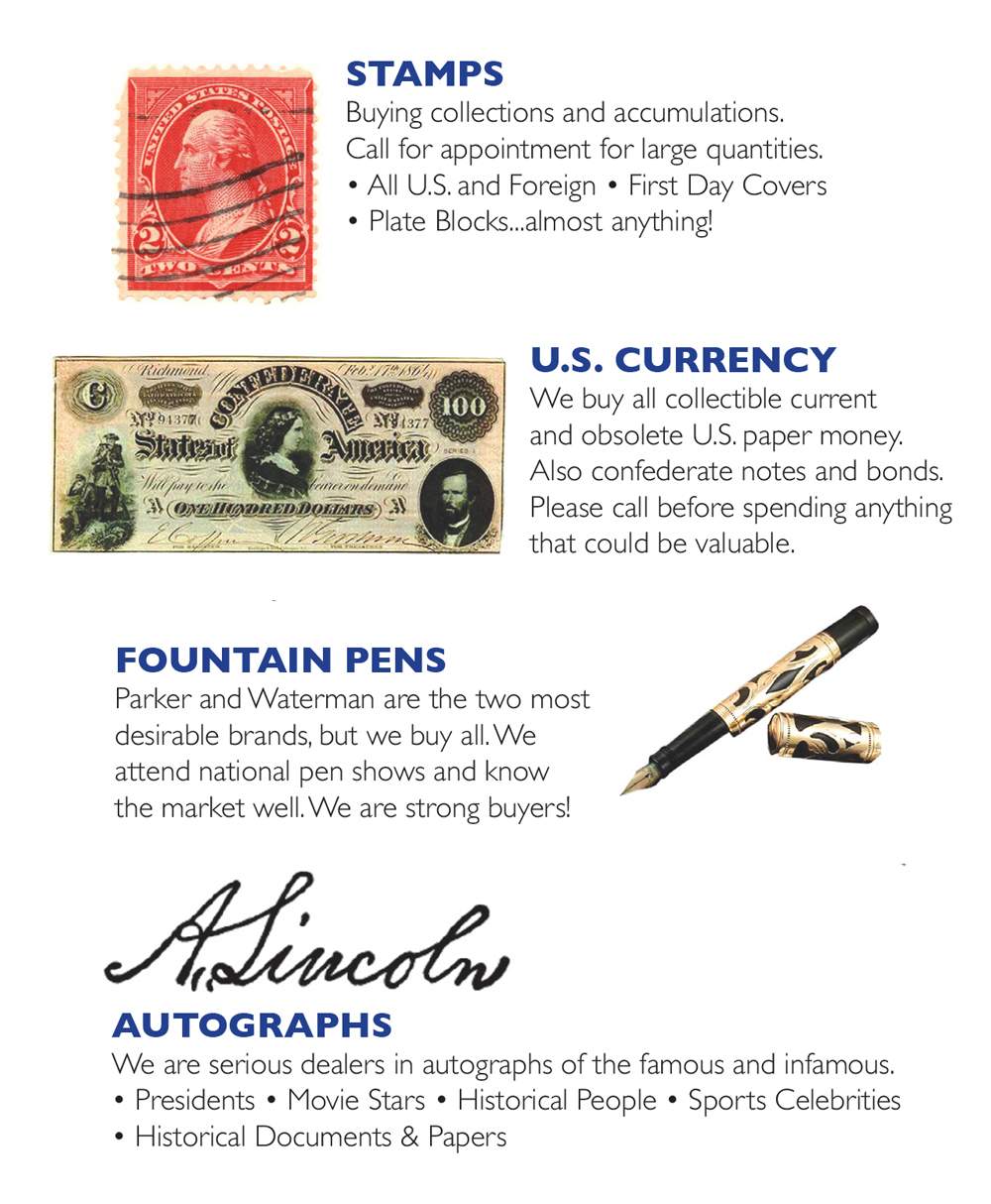 Stamps, Pens, Currency