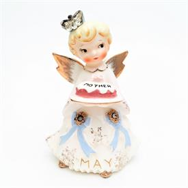 ",LEFTON 'MAY' BIRTHDAY ANGEL WITH MOTHER'S DAY CAKE. CA. 1950'S. HAS CRAZING (SEE PHOTOS). 4.5"" TALL"