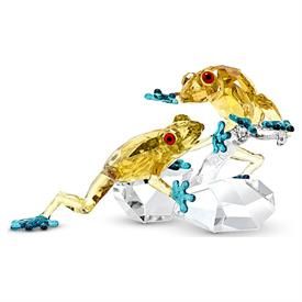 """-,FROGS FROM THE CRYSTAL PARADISE COLLECTION. 3.2"""" TALL, 5.25"""" LONG, 2.8"""" DEEP."""