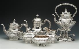 ",6 Piece Tea Set Buttercup Gorham Sterling: Kettle on Stand 11.5"", Coffee Pot 8.25"", Tea Pot, Waste, Creamer & Sugar 88.80 troy oz."