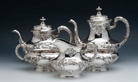 ",5 Pc Tea & Coffee Set Buttercup Sterling Silver includes: Coffee Pot 7.75"" tall, Tea Pot 6.7"" tall, cream pitcher, waste bowl, sugar bowl"
