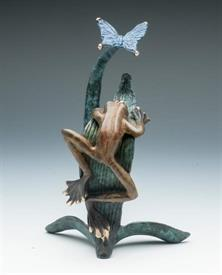 ",_RAINFOREST FROG WITH BUTTERFLY 8""H X 5 1/2"" W"
