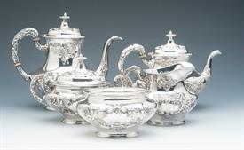 ",5 Piece Coffee & Tea Set Buttercup by Gorham Sterling Silver 52.80 troy ounces monogrammed ""B"" Condition 9 out of 10"