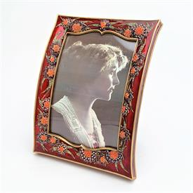 """_,8064/2 MAGDA 5X7"""" CURVED FRAME IN MUSEUM GOLD PLATE WITH MULTI COLORED ENAMELING & SWAROVSKI CRYSTALS. MADE IN THE USA."""
