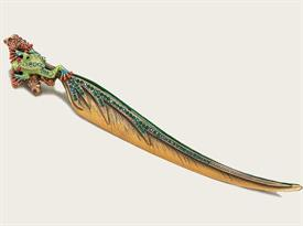 "-,8152/3 FROG LETTER OPENER IN GREEN & MUSEUM GOLD PLATE. 7.75"" LONG"