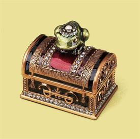 """_,7760/2 FROG PRINCE BOX IN GARNET & GOLD. 2"""" TALL, 2"""" BY 1.5"""" WIDE"""