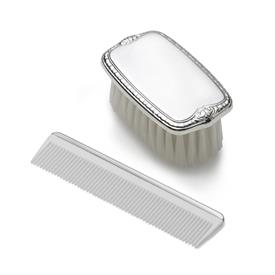 ",-$7191 BOYS PEWTER COMB&BRUSH SET.PLAIN NYLON BRISTLES.LENGTH 3 1/8""X 1 7/8""WIDTH."