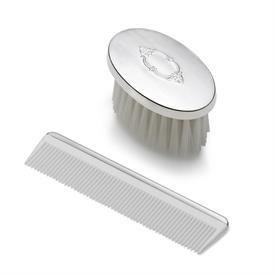-,$2197 BOYS OVAL SHIELD DESIGN BRUSH SET. STERLING SILVER BY EMPIRE