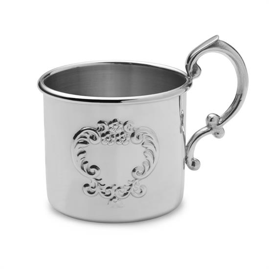 Empire Silver ,-$894 PEWTER RAISED DESIGN BABY CUP.