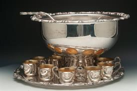 :SHERIDAN PUNCH BOWL SET HUGE AND ORNATE WITH 11 CUPS, UNDERPLATE, PUNCH LADLE AND BOWL