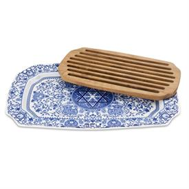"-17.5"" CHALLAH TRAY WITH WOOD INSERT"
