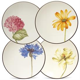 -SET OF 4 FLORAL BREAD PLATES