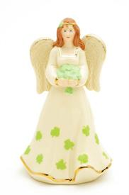 "-IRISH ANGEL 5.3"" IN HEIGHT HOLDING A BOUQUET OF GREEN SHAMROCKS."