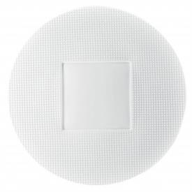 "-ROUND PLATE WITH SQUARE CENTER. 12.6"" WIDE"