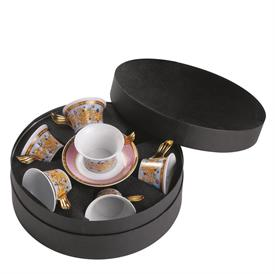 -SET OF 6 TEA CUPS & SAUCERS IN ROUND HAT/GIFT BOX