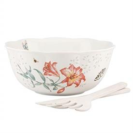 "-11"" SALAD BOWL WITH WOOD SERVERS. MSRP $140.00"