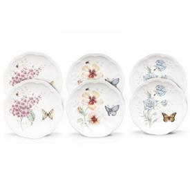 "-6-PIECE PARTY PLATE SET. 6"" WIDE. DISHWASHER & MICROWAVE SAFE. BREAKAGE REPLACEMENT AVAILABLE. MSRP $80.00"