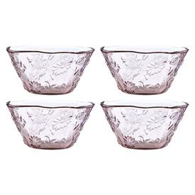 -SET OF 4 PINK GLASS BOWLS. MSRP $100.00