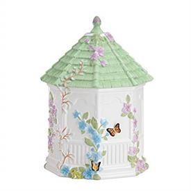 "-GAZEBO COOKIE JAR. 10"" TALL, 6"" WIDE. DISHWASHER SAFE. BREAKAGE REPLACEMENT AVAILABLE. MSRP $100.00"