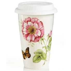 -THERMAL TRAVEL MUG. 10 OZ. CAPACITY. BASE IS MICROWAVE & DISHWASHER SAFE. BREAKAGE REPLACEMENT AVAILABLE. MSRP $18.00