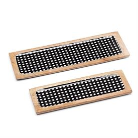 "-BLACK GINGHAM 2-PIECE WOOD TRAY SET. 18"" & 15"" LONG. HAND WASH. BREAKAGE REPLACEMENT AVAILABLE. MSRP $100.00"