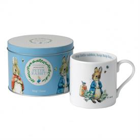 -,PETER RABBIT BLUE MUG IN A TIN CAN. ADORABLE!!!! RETAIL VALUE $25