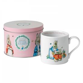 -PETER RABBIT PINK MUG IN A TIN CAN. ADORABLE!!!!! RETAIL VALUE $25