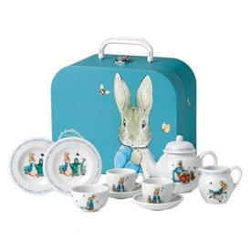 -PETER RABBIT CHILDREN'S TEA SET WITH CARRYING CASE. RETAIL VALUE $125