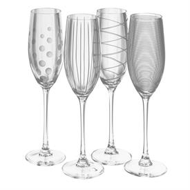 -CLEAR CHAMPAGNE FLUTE, SET OF 4