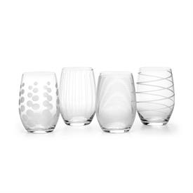-CLEAR STEMLESS WINE GLASS, SET OF 4