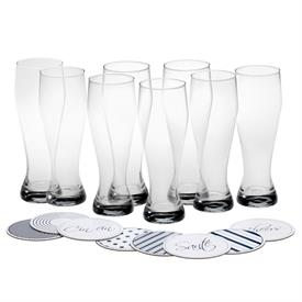 -CLEAR WHEAT BEER GLASS WITH COASTER, SET OF 8