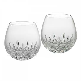 -SET OF 2 STEMLESS LIGHT RED WINE GLASSES