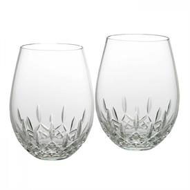 -SET OF 2 STEMLESS DEEP RED WINE GLASSES