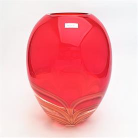 """,11"""" RED & AMBER GINGER JAR VASE"""