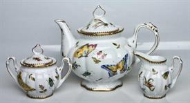 -3 PIECE TEA SET. INCLUDES TEA POT, CREAMER, & SUGAR BOWL WITH LID.