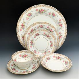 ,30P GENEVA BY NORITAKE. CA. 1969-1978. INCLUDES 6 EACH DINNER PLATES, SALAD PLATES, BREAD PLATES, TEA CUPS & SAUCERS
