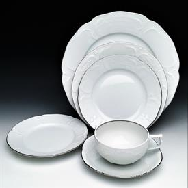 ,47P SANSSOUCI PLATINUM BY ROSENTHAL. 6 DINNER, SALAD, SOUP, 8 BREAD, 4 CUP & SAUCER, FRUIT, 2 CANAPE, & 7 SERVING PIECES