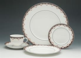:55P MEDICI BY WEDGWOOD. 10 EACH DINNER, SALAD, BREAD PLATES, 12 EACH CUPS & SAUCERS, 1 OVAL VEGGIE BOWL. CA. 1980-1989